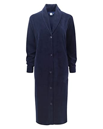 Cotton Traders Womens Ladies Velour Button Through Dressing Gown ...