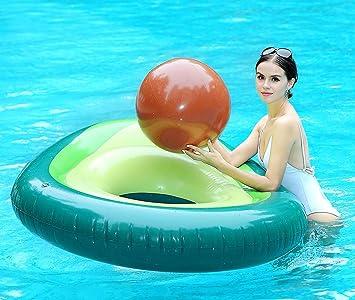 Aguacate Gigante Inflable con Pelota de Agua 170cm, Hinchables Piscina Juguetes Colchoneta Acuáticos Divertidos Ummer Beach Unicornio Flotador Swim ...