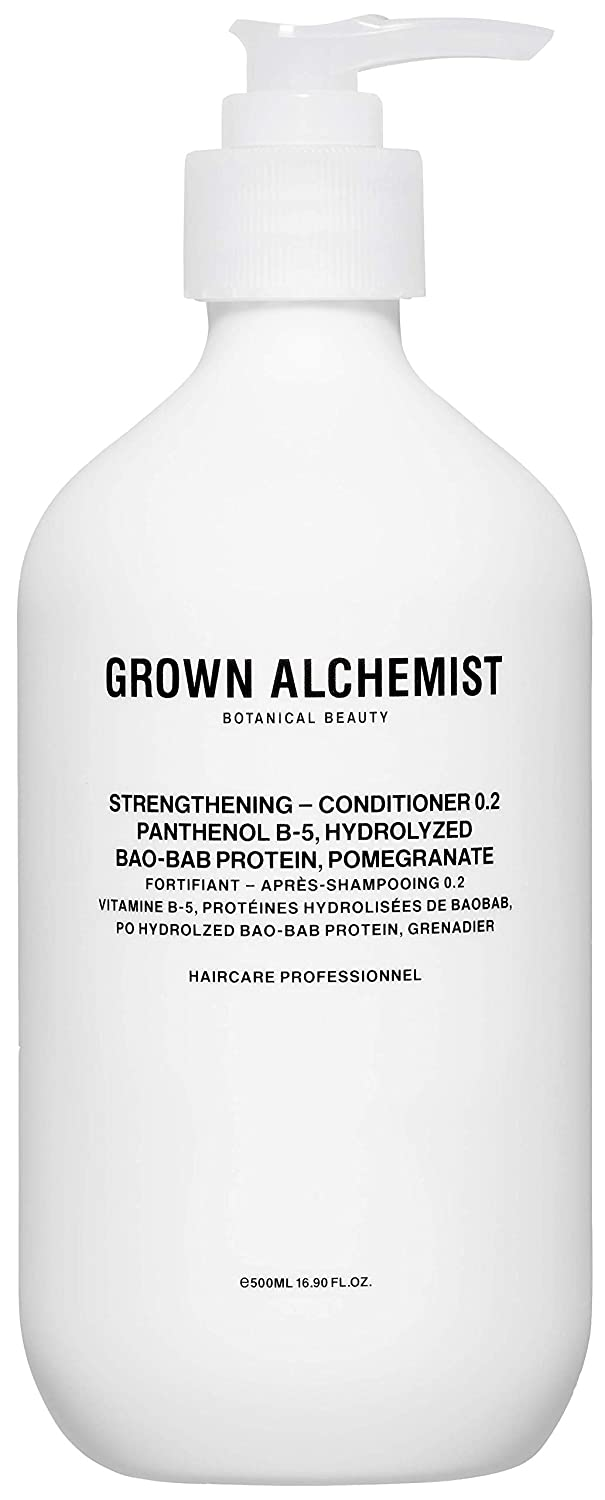 Grown Alchemist Strengthening Conditioner 0.2 - Panthenol B-5, Hydrolyzed Baobab Protein & Pomegranate - Hydrating Conditioner for Dry or Weakened Hair (500ml / 16.9oz)
