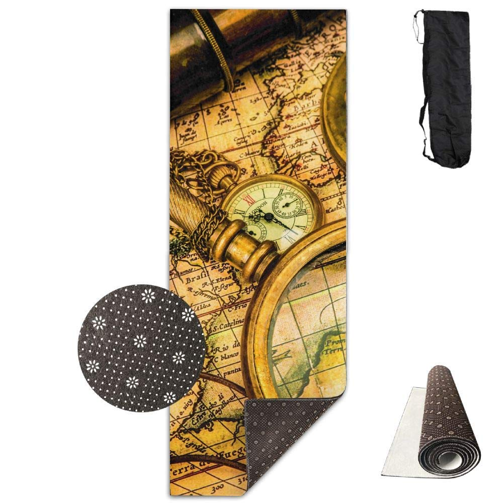 Magnifying Glass Compass Telescope and Old Map Pocket Watch Yoga Mat  Advanced Yoga Mat  NonSlip Lining  Easy to Clean  LatexFree  Lightweight and Durable  Long 180 Width 61cm