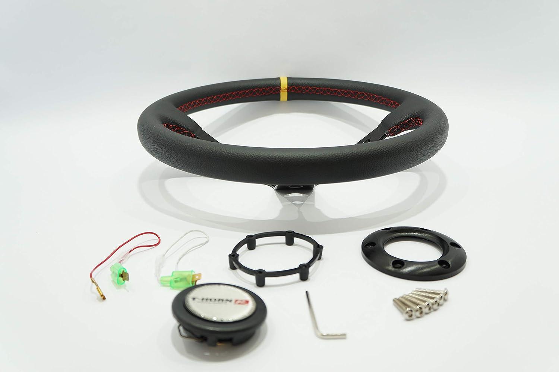 DTi 70034-Y 35 cm Dorado Tuning Volante 350 mm di/ámetro // 85 mm Profundo//Negro//Deporte//Dise/ño Italiano