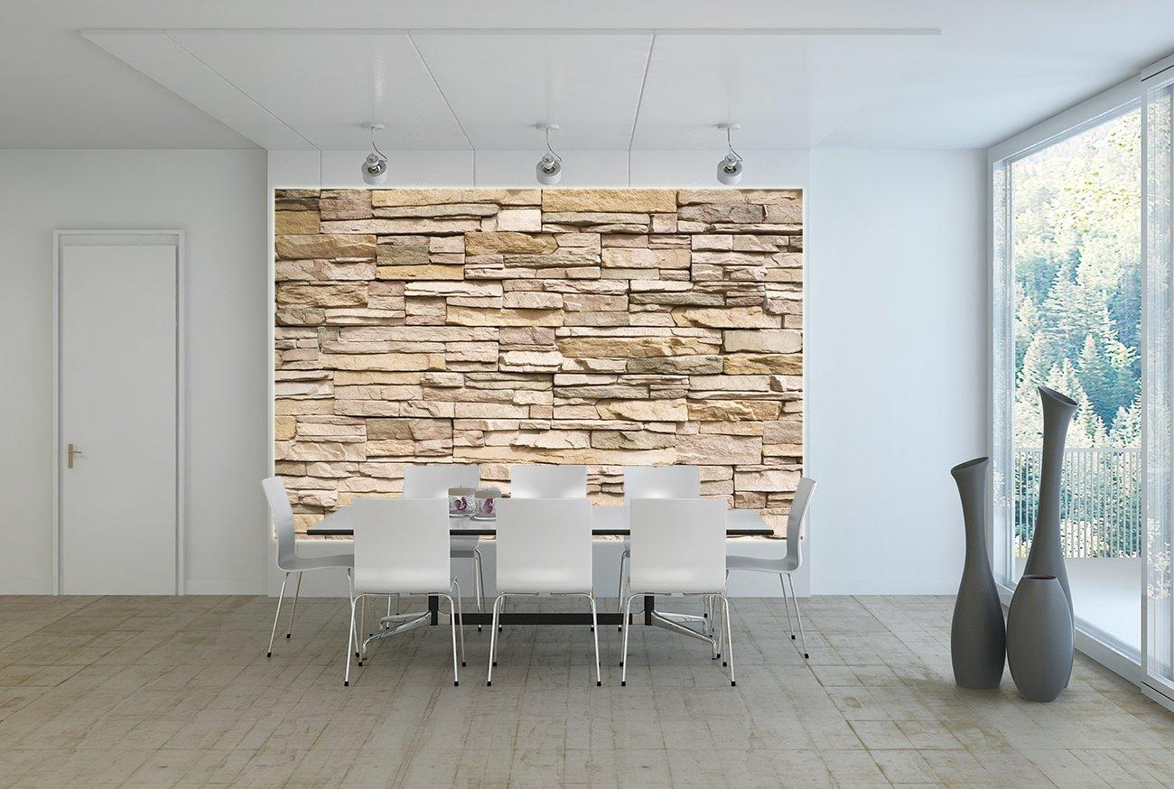 Fototapete Beige Steinwand Wand-dekoration - Wandbild Steinmauer ...