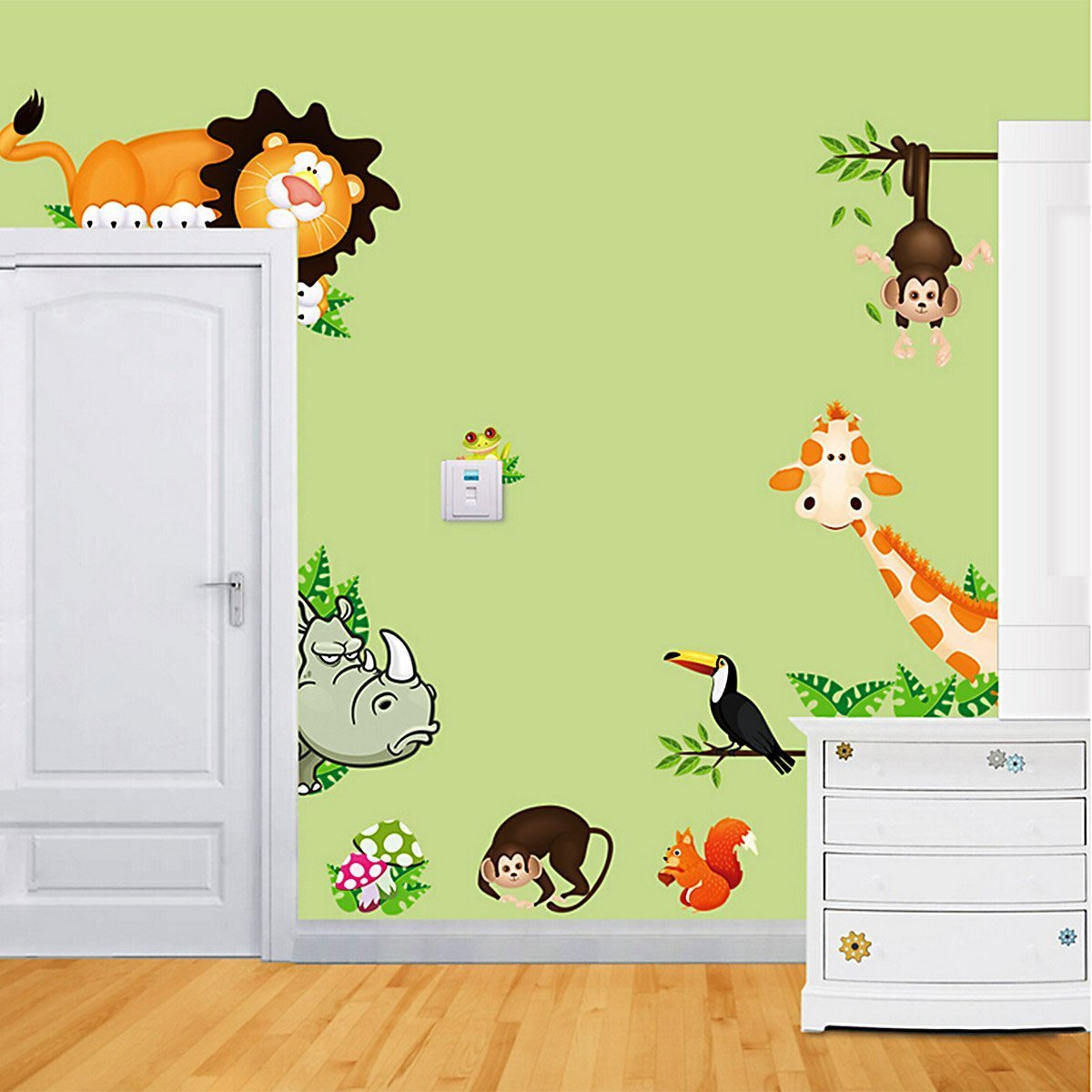 JoyGood DIY Removable Wall Decal Giraffe Monkey Lion Zoo Wall Sticker Art Home Decoration for Living Room Nursery Baby Children's Room Bedroom ZOOYOO 001
