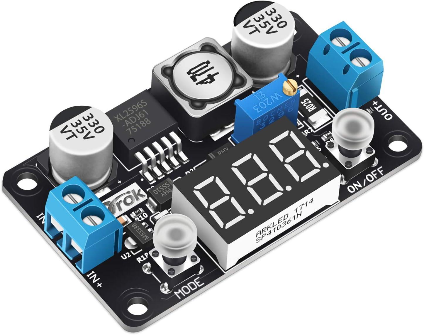 DROK LM2596HV Voltage Regulator DC Buck Converter 4.5-55V to 1.25-30V Adjustable Step Down Variable Volt Power Supply Stabilizers