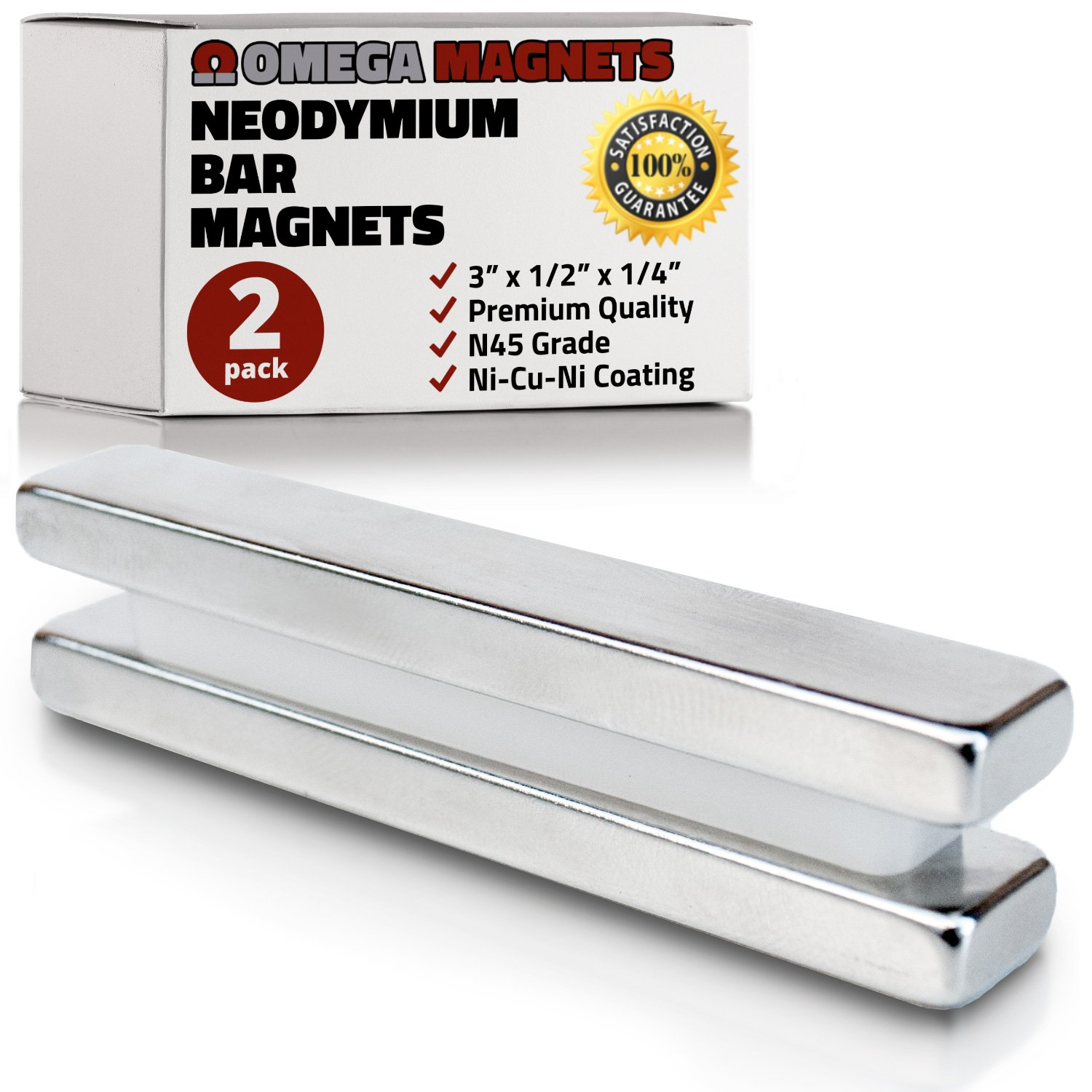 """Strong Neodymium Bar Magnets (2 Pack) - Powerful, Rectangular Rare Earth Magnets - N45 Industrial Strength NdFeB Block Magnet Set for Misti, DIY, Crafts - 3"""" x 1/2"""" x 1/4"""""""