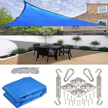 CHUDAN Vela Parasol para Sol Protección Solar HDPE, Bloque de UV de 3x3x3m para jardín, triángulo, 90% UV, para el Patio de casa de Beach de Deck con Kit de Acero Inoxidable: