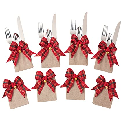tartan plaid christmas silverware holders set - Christmas Silverware Holders
