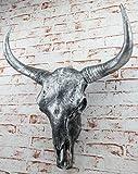 Trophy Bull Animal Head Soft-To-LIFE buffalo skull Silver Skull Bull Head Skullpture 65 CM Large Wall Sculpture