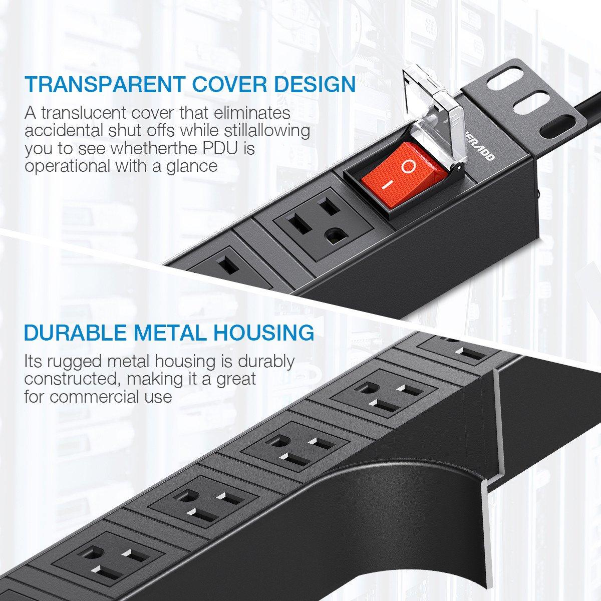 POWERADD PDU Power Strip PDU Reckmount with 8 Wide-Spaced Outlets1U Rackmount 6.5ft Heavy Duty Cord 2500W