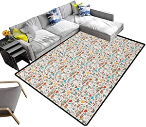 Faux Area Rug Birthday, Non-Slip Machine Washable Rugs Boxes Garlands Music Notes Party Blowouts Cakes Candies Pie Party Hats Maximum Absorbent Soft Aqua Orange Mustard, 5 x 7 Feet