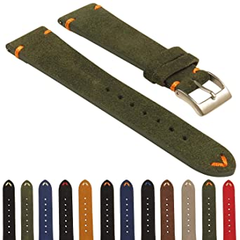 c9a5b86e52c Image Unavailable. Image not available for. Color  StrapsCo Suede Vintage  Hand-Stitched Leather Watch Band ...
