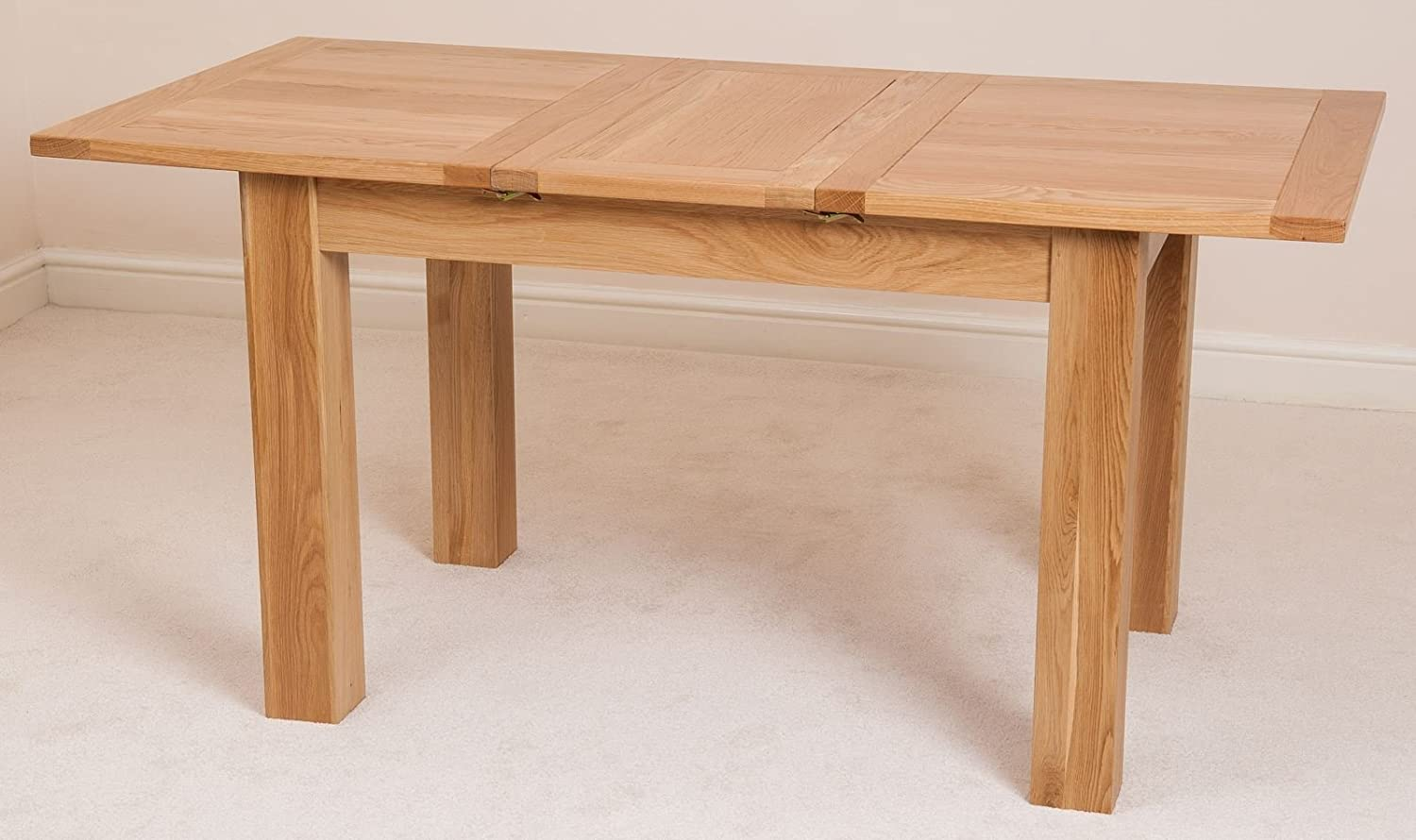 hampton solid oak extending dining table 120 160 cm amazoncouk kitchen u0026 home