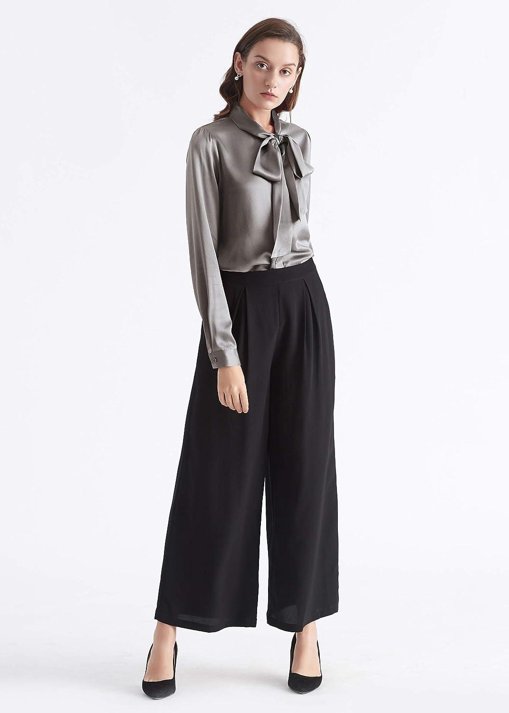 LilySilk Ladies Bow-tie Neck Silk Blouse 100 Silk Blouse Ladies Top Shirt 22 Momme Pure Silk Dark Gray