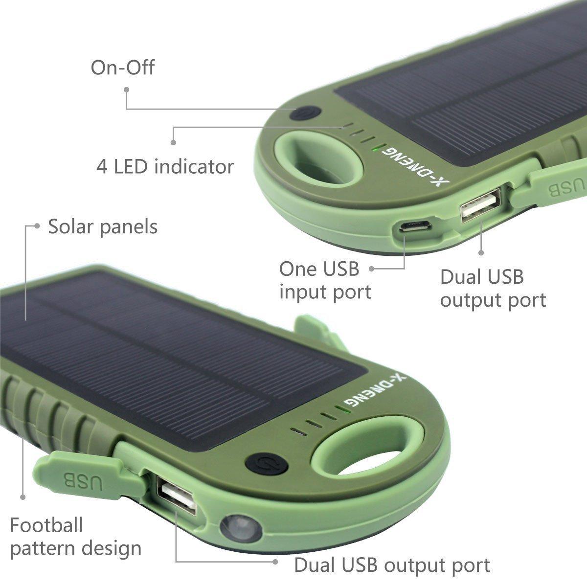 Externe Akku Powerbank 12000 mAh Solar Ladegerät Handy X-DNENG 2 Ausgänge USB Wasserdicht Solar Panel Outdoor Power Bank mit LED-Lampen für iPhone iPad Tablet Samsung Android Smartphones Mp3 usw- Grün
