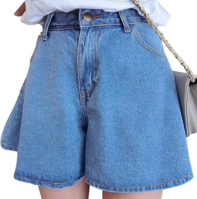 Short Corto para Mujer Botón Jeans Falda Bolsillos Delanteros ...