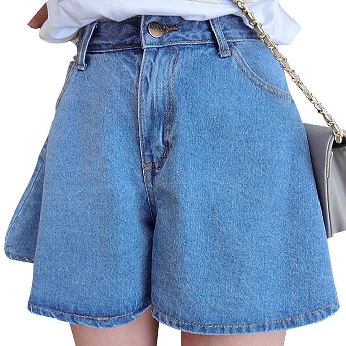 Laisla fashion Short Corto para Mujer Falda Jeans Botón Bolsillos ...