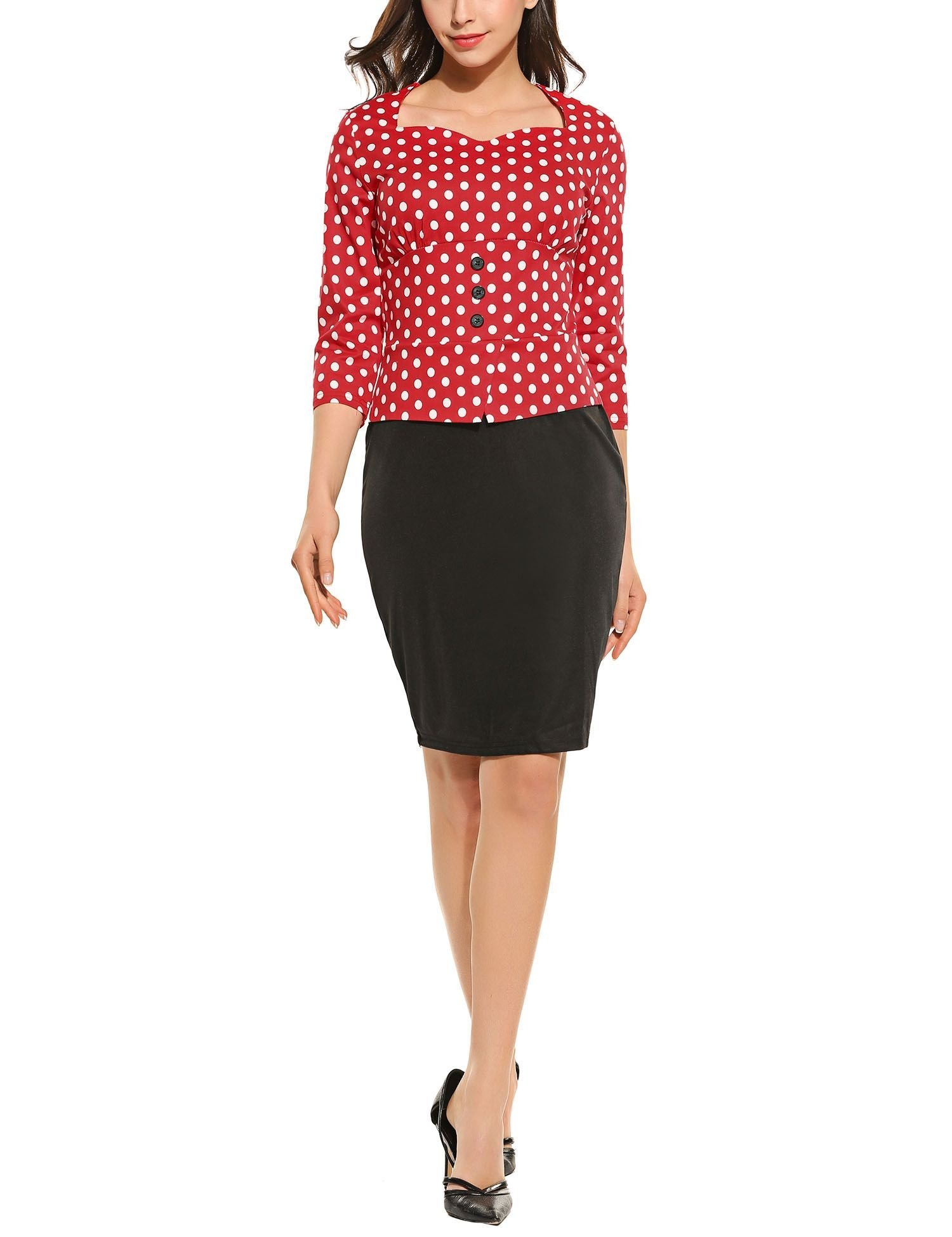 Hotouch Women's 3/4 Sleeve Polka Dot Wear to Work Business Bodycon One-Piece Dress (Red,L)