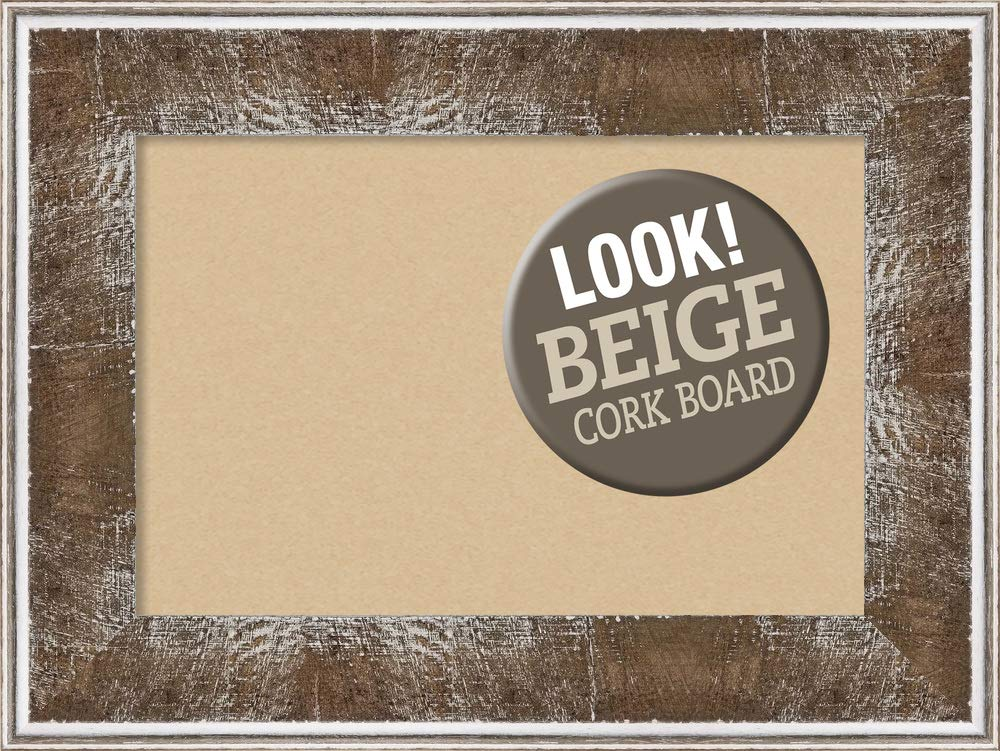 Amanti Art Tan Cork Farmhouse Brown Framed Bulletin Boards, 24 x 18,