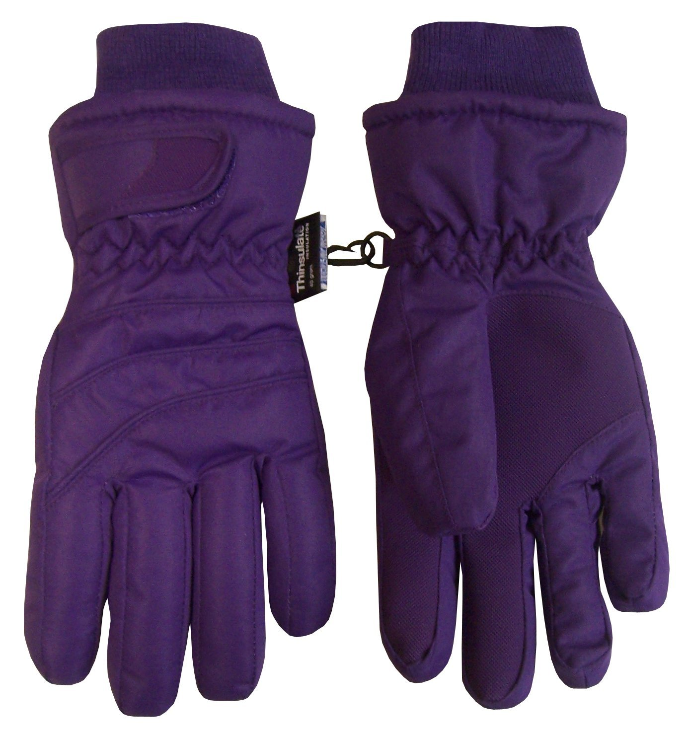 N'Ice Caps Kids Bulky Thinsulate and Waterproof Ski Glove With Ridges (8-10yrs, Dark Purple)
