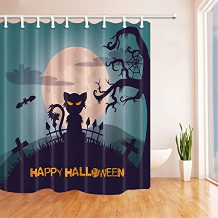 nyngei halloween shower curtains for bathroom cat cross fence tree and flying bats against full moon