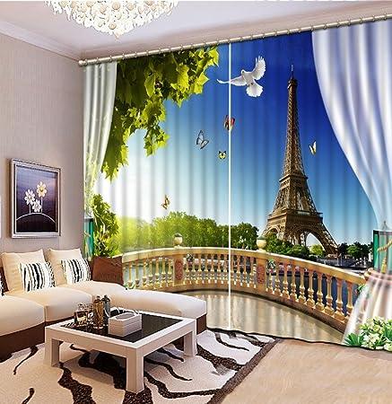 Sproud 3D Fenster Vorhänge Für Wohnzimmer Schlafzimmer Custom 3D Drucken  Balkon Vorhänge Eiffelturm 3D
