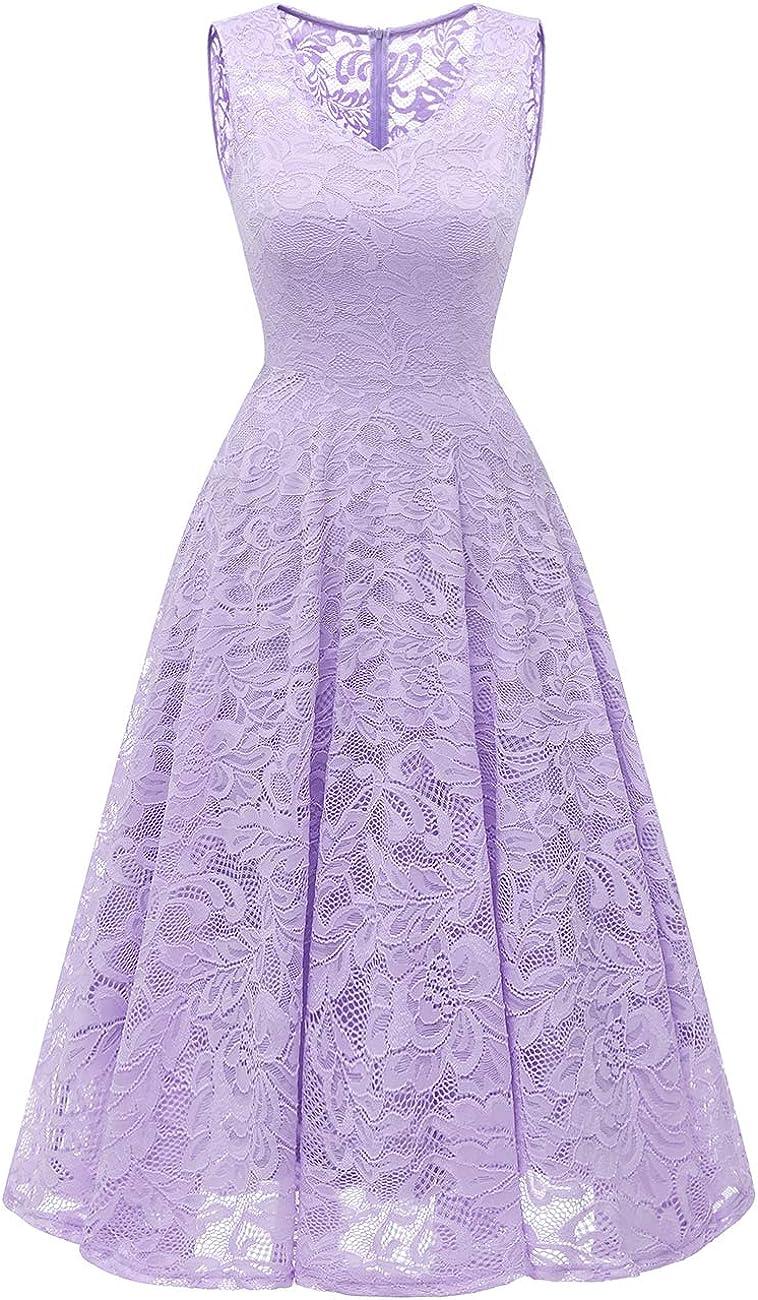 Meetjen Womens Elegant Floral Lace Sleeveless Handkerchief Hem Asymmetrical Cocktail Party Swing Dress