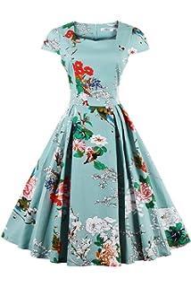 Babyonlinedress Babyonline Womens Classy Audrey Hepburn 1950s Vintage Rockabilly Swing Dress