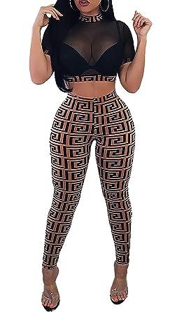 68e0d60993c Voghtic Women Sexy Short Sleeve Night Club Jumpsuit Mesh Perspective Crop  Top Bodycon Jumpsuits 2 Piece