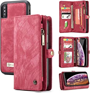 iPhone XR Wallet Case,Zttopo 2 in 1 Leather Zipper Detachable Magnetic 11 Card Slots Card Slots Money Pocket Clutch Cover with Free Screen Protector for 6.1 Inch iPhone Case -Red