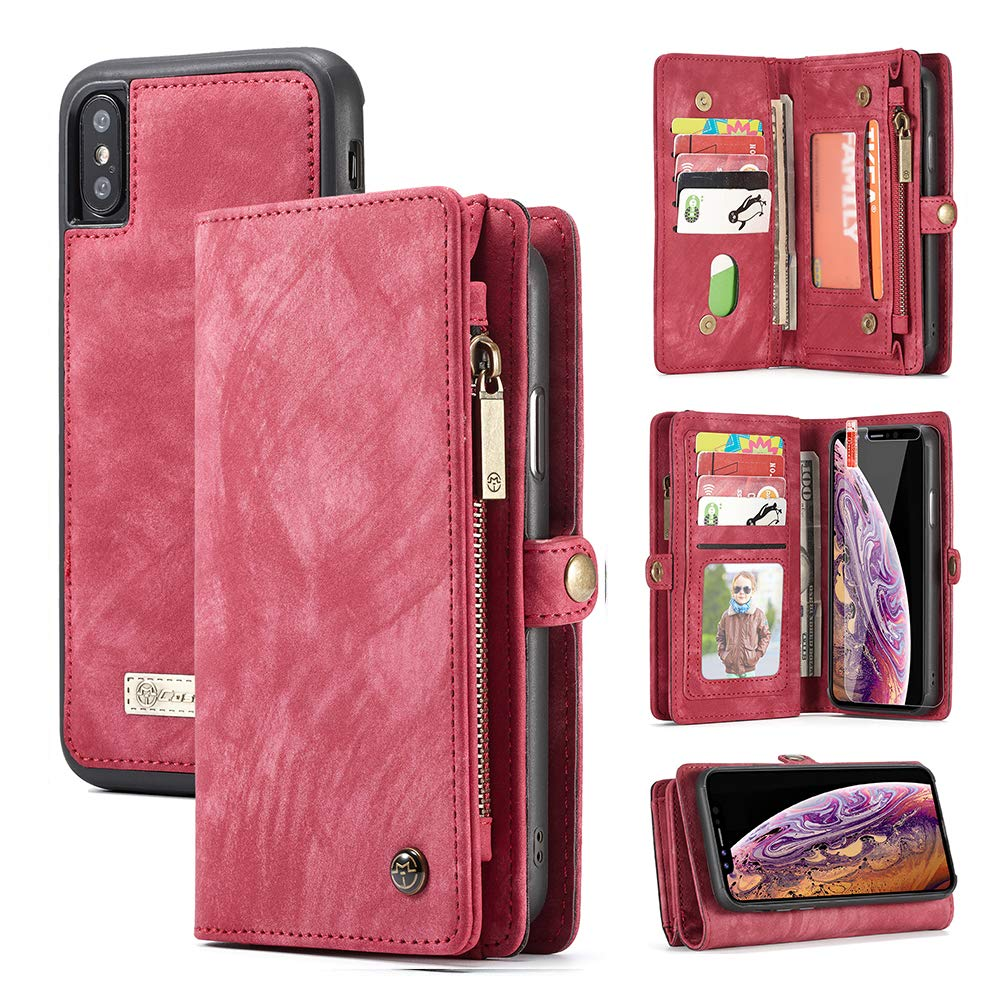 iPhone XR Wallet Case, Zttopo 2 in 1 Leather Zipper Detachable Magnetic 11 Card Slots Card Slots Money Pocket Clutch Cover with Free Screen Protector for 6.1 Inch iPhone Case -Red