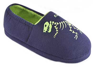 9ef4709c9253 Boys Glow in The Dark Dinosaur Slippers - Blue Size 2-3  Amazon.co ...