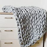 "eacho Chunky Knit Blanket Handmade Bulky Sofa Pet Mat Soft Knitting Throw Bed Rug Blanket Bedroom Decor, Grey, 24"" x 24"""