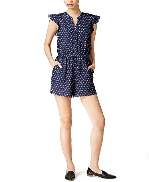 5720a0a8dc7 Amazon.com  Maison Jules womens Printed Flutter Sleeve Romper Blue ...