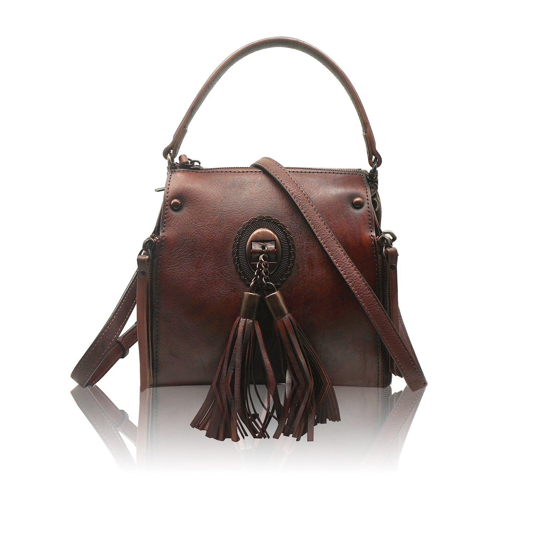 Womens Genuine Leather Backpack Handmade Dip Dye Ladies Crossbody Shoulder Bag Rucksack Travel Bag(Brown)