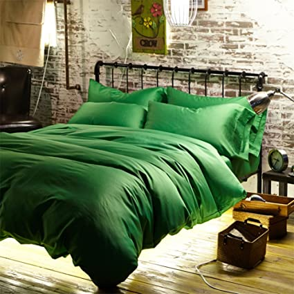 Newrara Luxury Linen Cotton Satin Solid Color Emerald Green Duvet Cover Bed  Sheets Set Queen