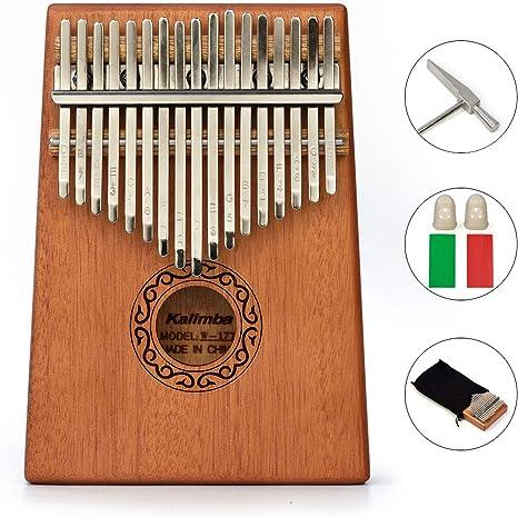 Mahagoni Holz 17 Notizen Kalimba Daumen Klavier Stimmhammer Aufkleber für