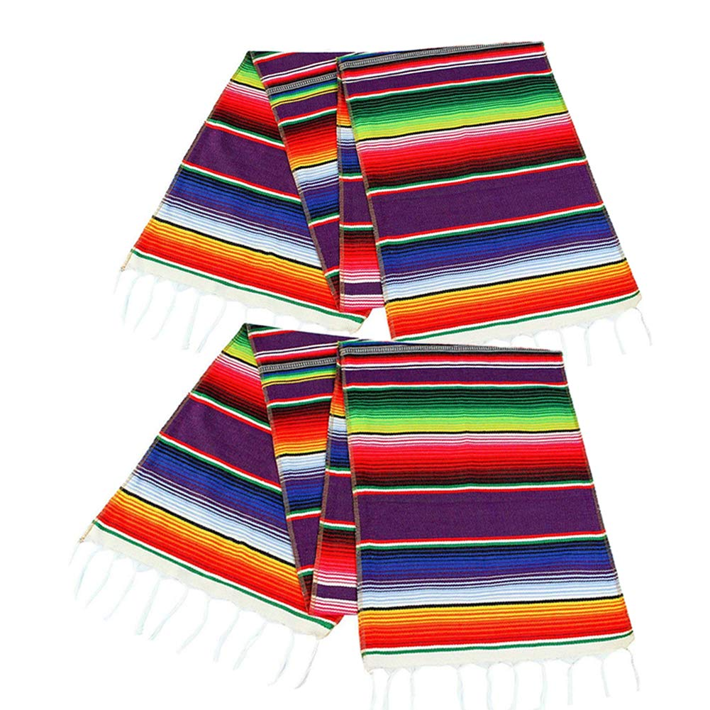 2 Pack Mexican Serape Table Runner 14 x 84 Inch for Mexican Party Wedding Decorations Outdoor Picnics Dining Table, Fringe Cotton Handwoven Table Runners by Focushow (Image #1)