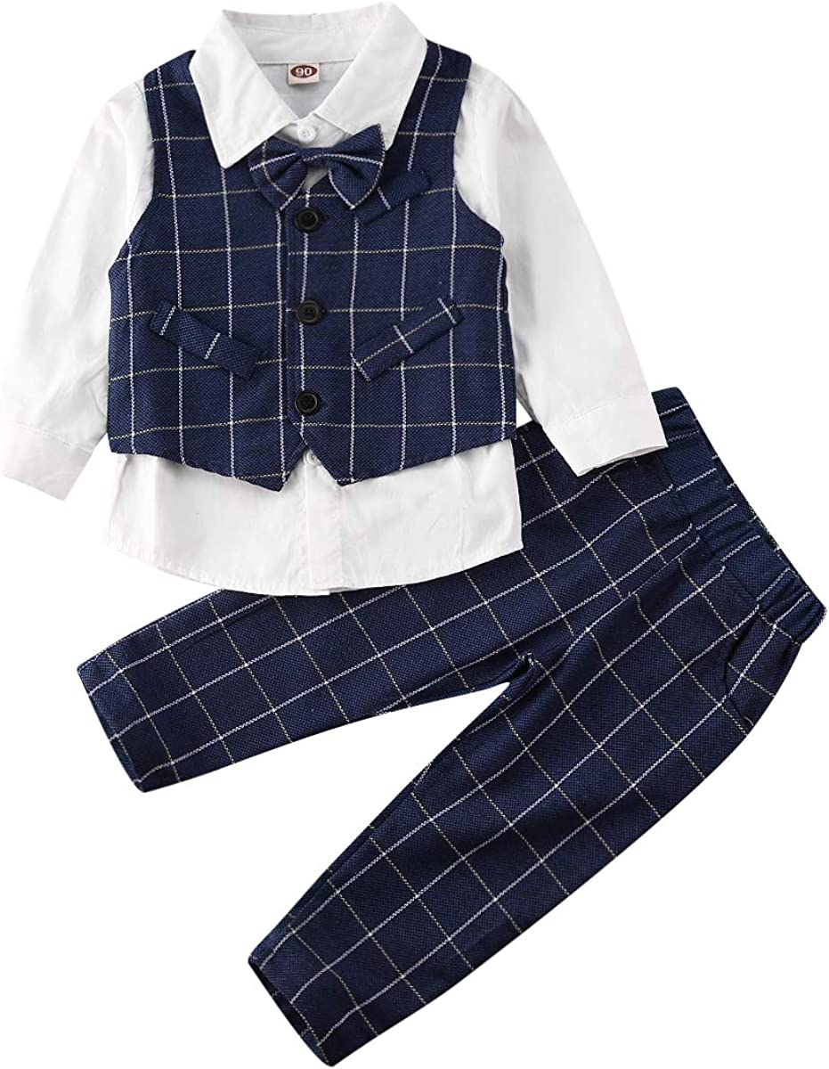 4pc New Born Boy Toddler Black Eton Vest Shorts Sleeve Bow Tie Set Formal Sm-4T