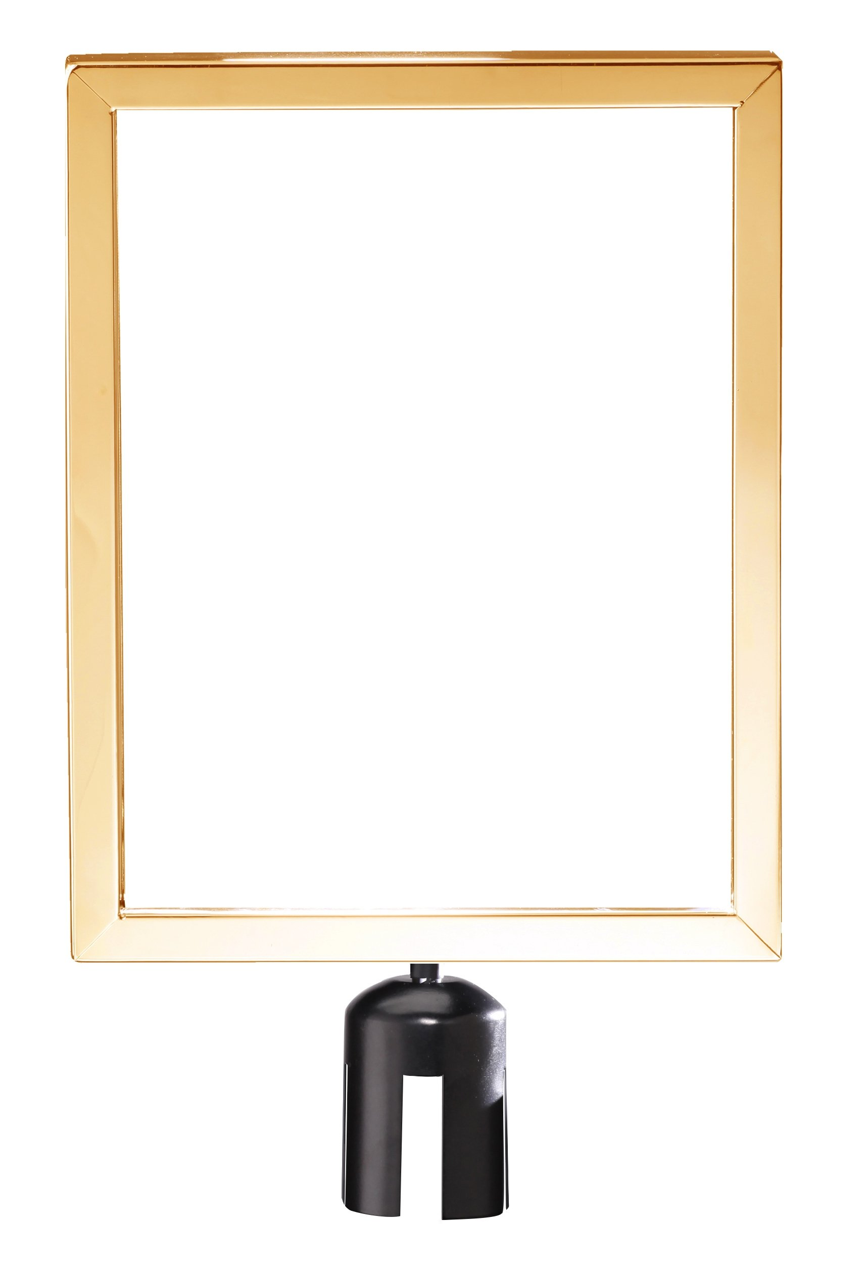 ComeAlong Industries Heavy Duty Polished Brass Vertical Sign Frame with Black Post Belt Top Adapter, 8.5'' Width x 11'' Height