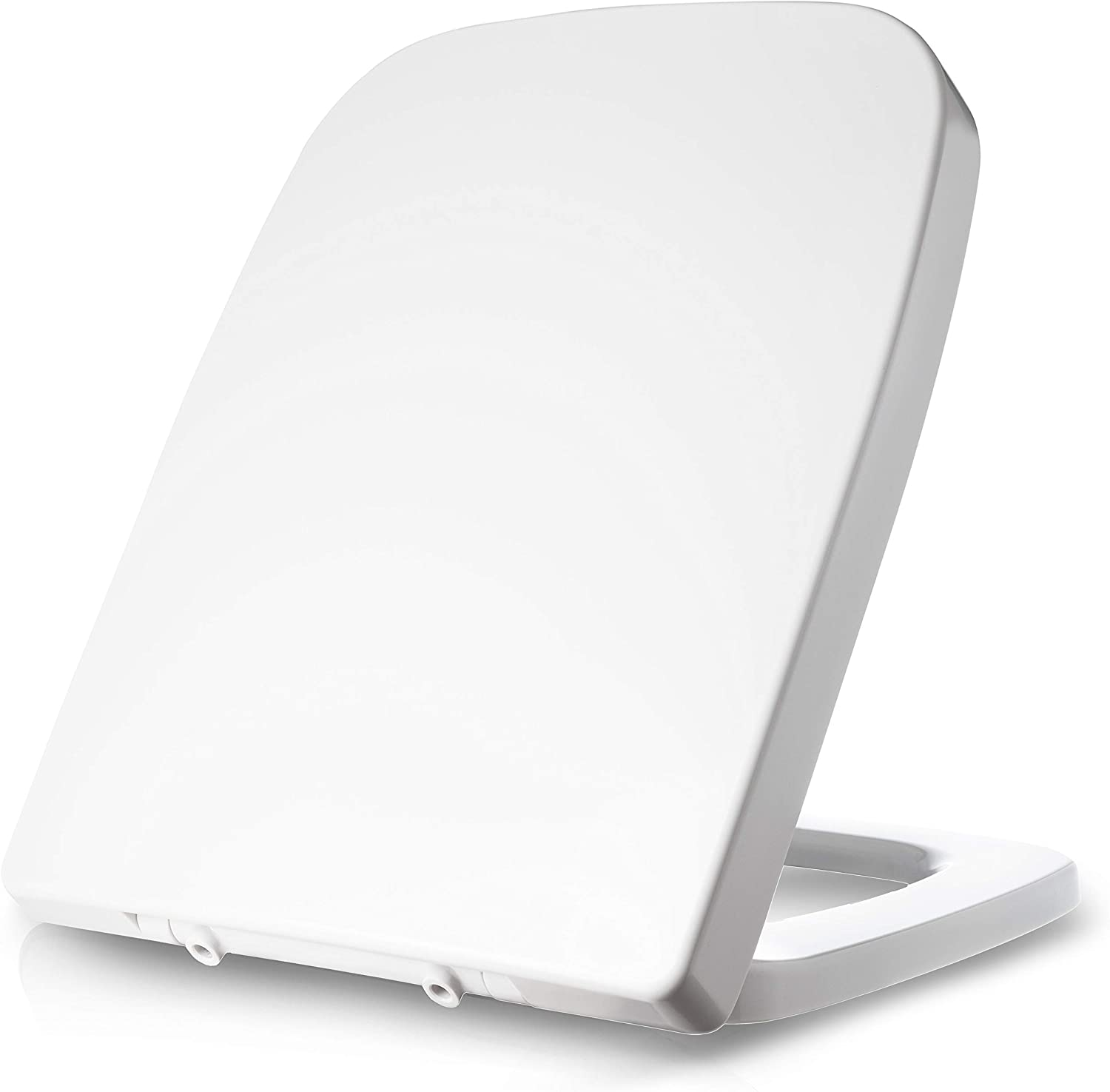 Dombach Lamera Square Toilet Seat White Suitable for Keramag Renova No. 1 Plan with Soft Close Toilet Lid Removable Stainless Steel Hinge Quick Release Function