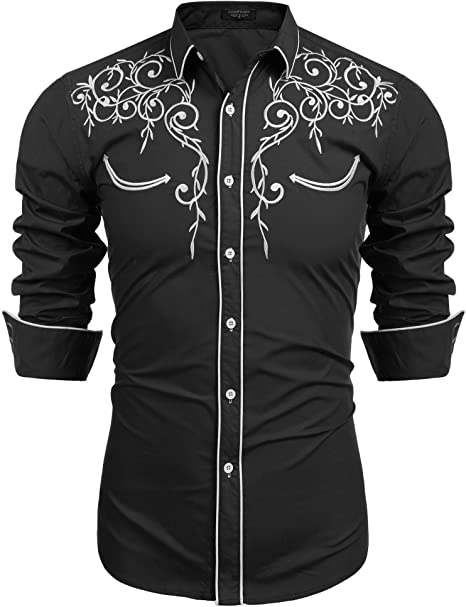 Mens Long Sleeve Shirts Embroidery Slim Fit Button Down Casual Shirts Western Cowboy Shirt