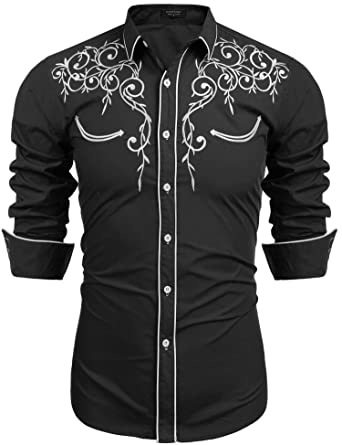 ecf11f1c COOFANDY Mens Long Sleeve Shirt Embroidery Slim Fit Casual Button Down Shirt ,01-black
