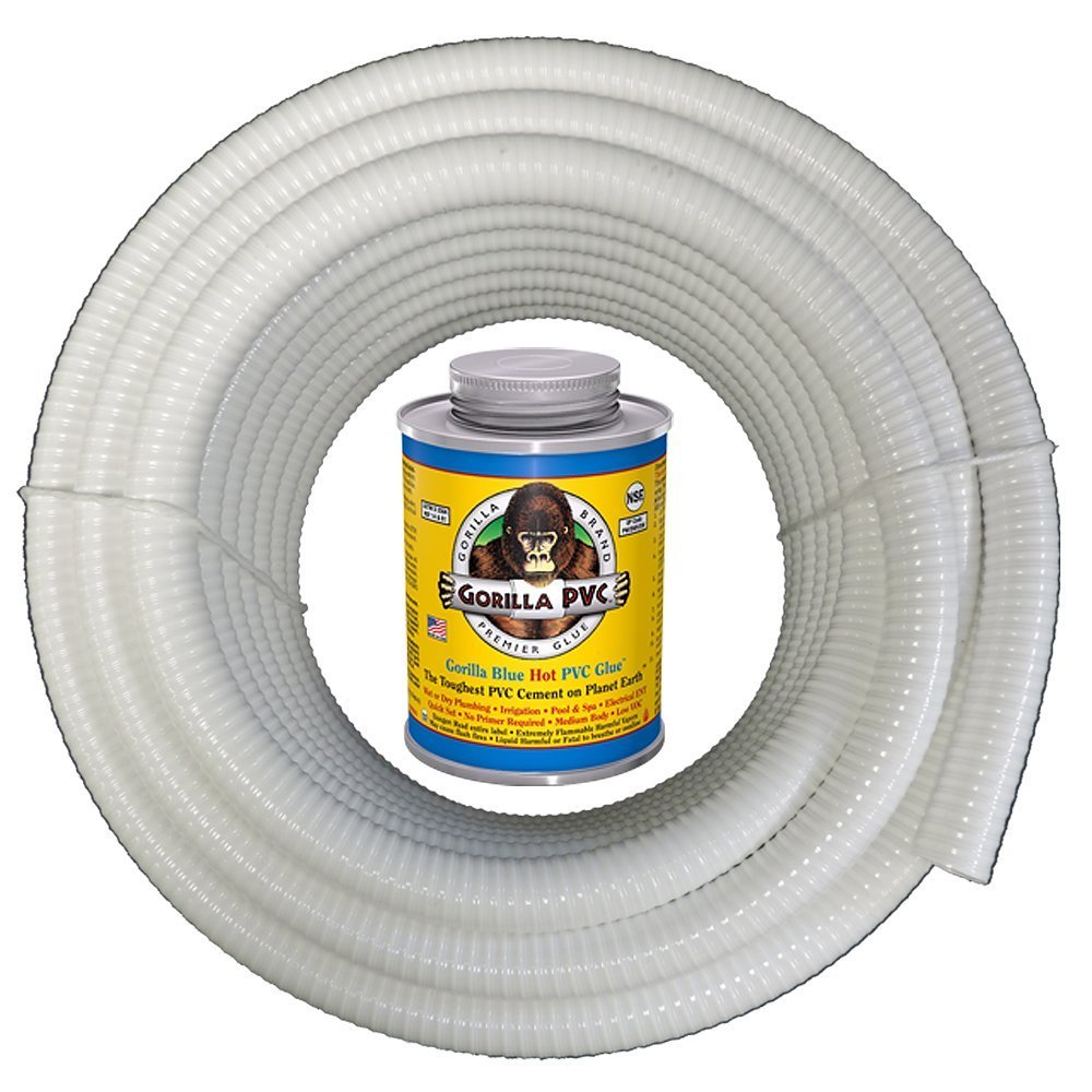 """HYDROMAXX (3/4"""" Dia. x 50 ft) White Flexible PVC Pipe, Hose, Tubing for Pools, Spas and Water Gardens. Includes Free 4oz Can of Hot Blue PVC Gorilla Glue."""