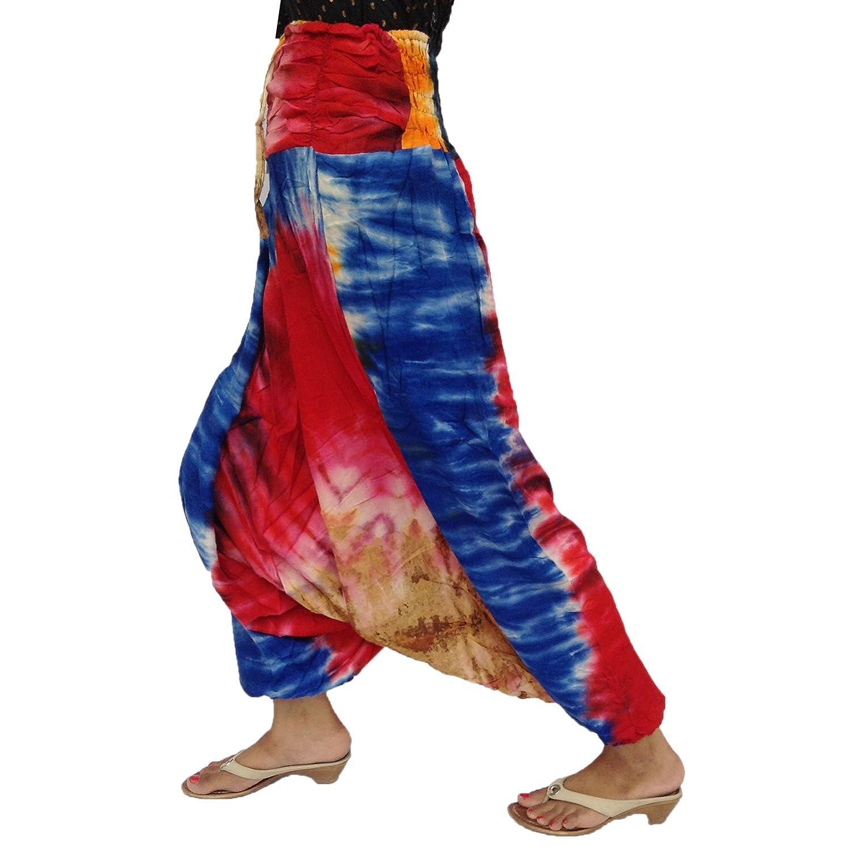 Adjustable String Rayon Front Gathered Back Smocked Waist Harem Tie Dye Pant
