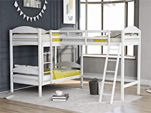 Twin L-Shaped Bunk Bed and Loft Bed, Solid Wood Twin Bunk Bed Loft Bed with Guardrail, Two Ladders for 3 Person, No Box Spring (White)