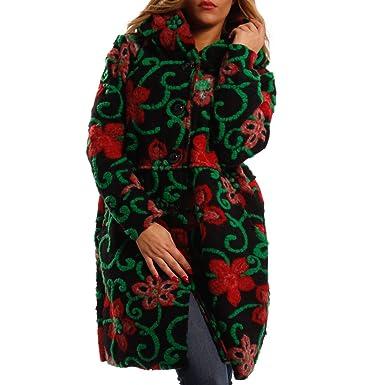 Damen Oversized Jacke Herbst Winter Mantel mit Schalkapuze Brit Chic Multicolour