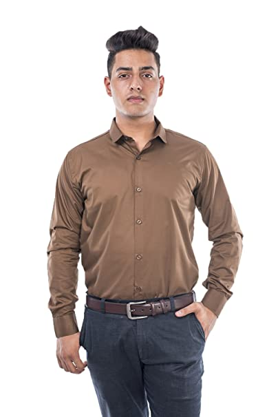 U-TURN Men s Cotton Solid Formal Semi Formal Brown Shirt  Amazon.in   Clothing   Accessories 5d3ae6e29