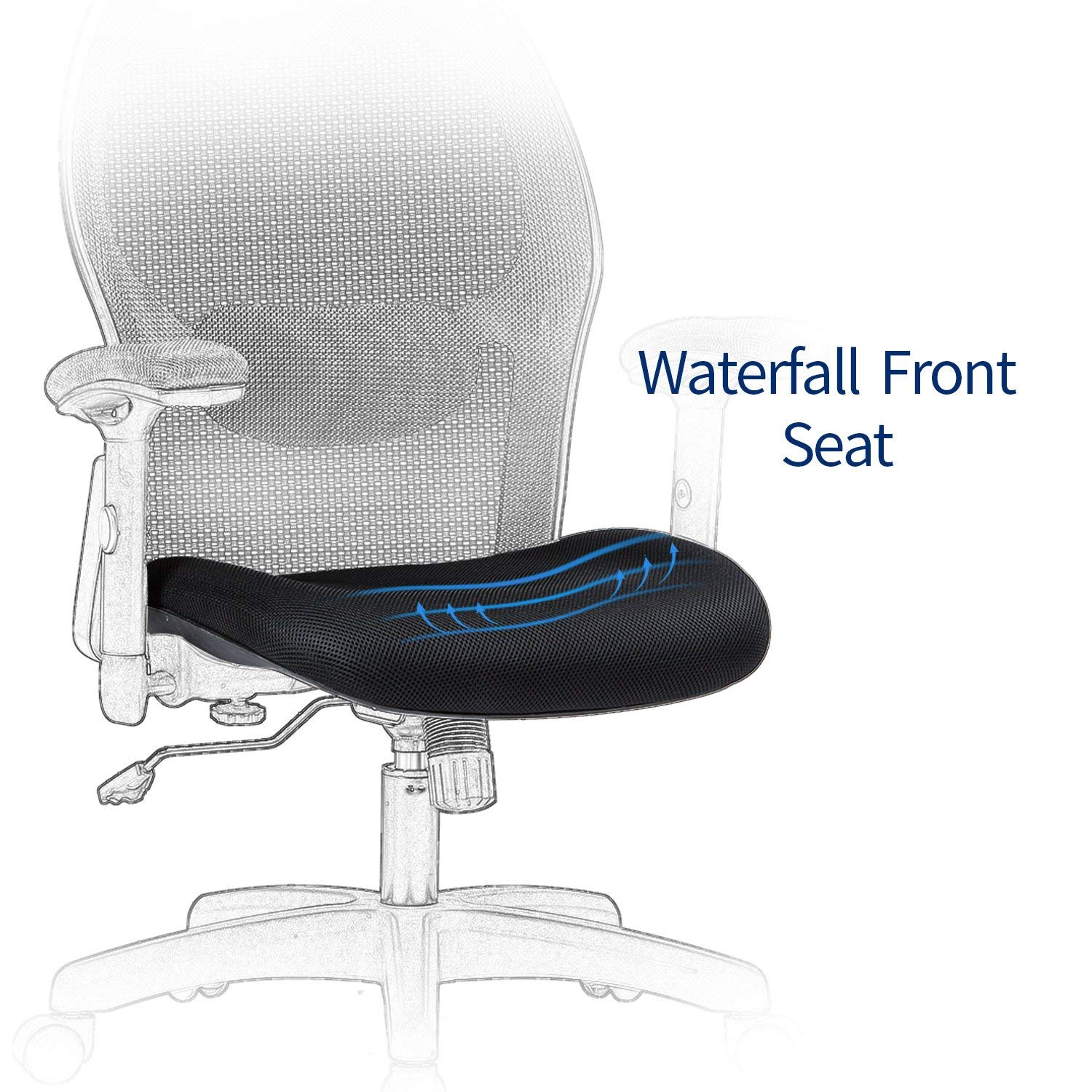LIANFENG Ergonomic Office Chair, High Back Executive Swivel Computer Desk Chair with Adjustable Armrests and Headrest, Back Lumbar Support, Black by LIANFENG (Image #8)