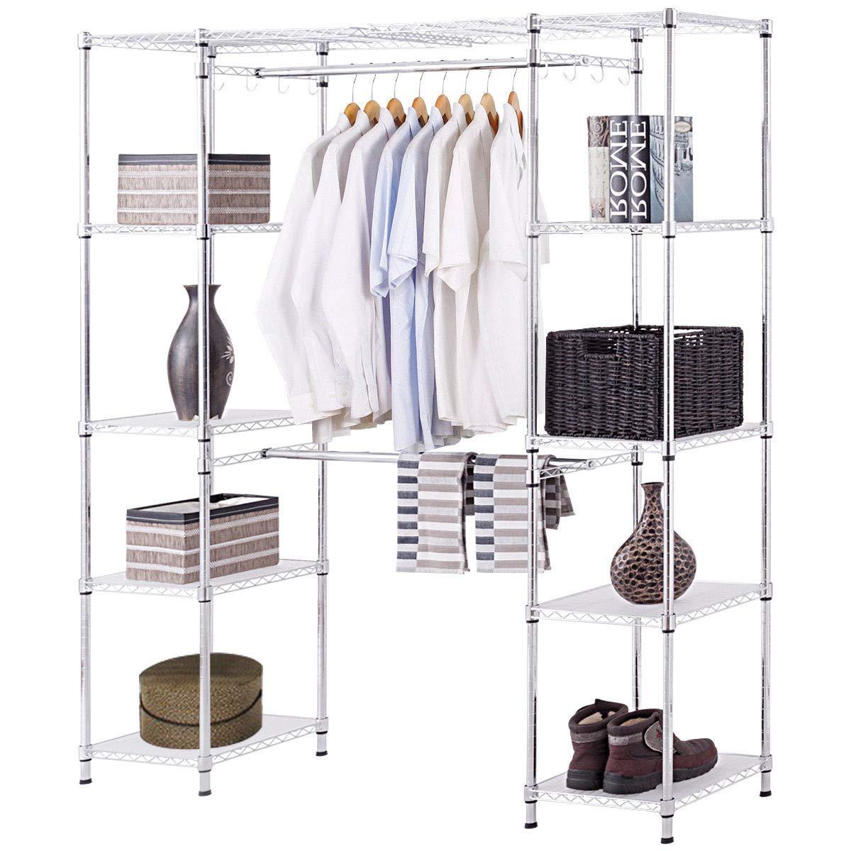 Tangkula Garment Rack Portable Adjustable Expandable Closet Storage  Organizer System Home Bedroom Closet Shelves Clothes Wardrobe (Silver)