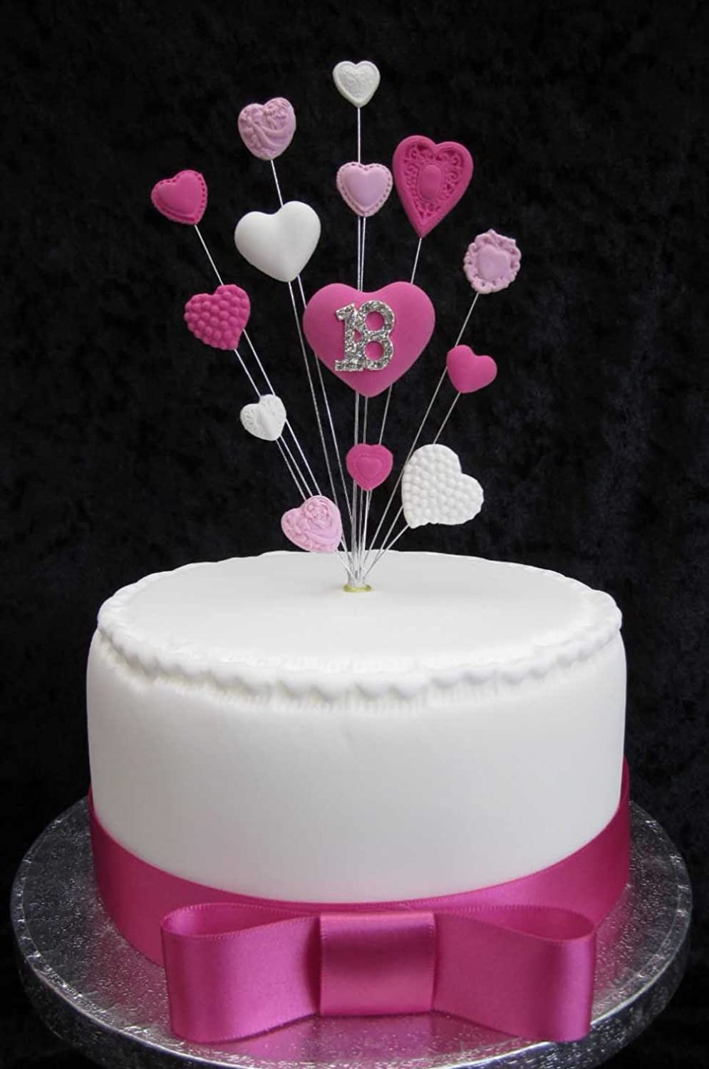 18th Birthday Cake Topper Pinks And White Hearts Suitable For A